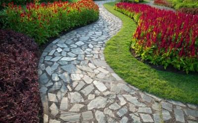 beautiful stone path in landscaped garden